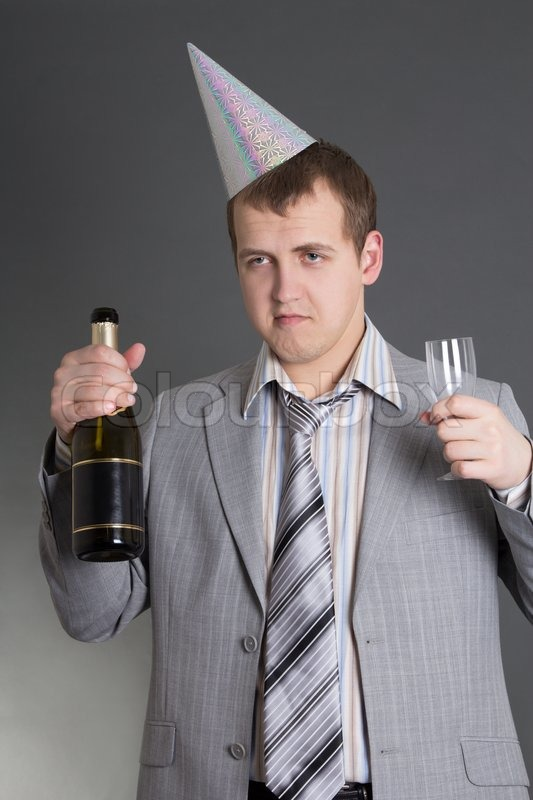 Stock image of 'Drunk businessman at the birtday party'