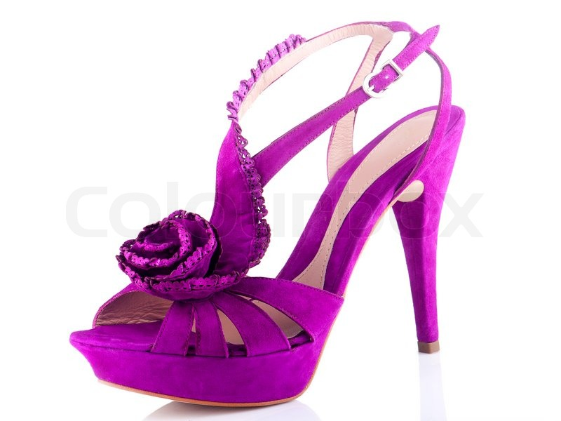 Stock image of 'Purple Women's shoes on a white background'