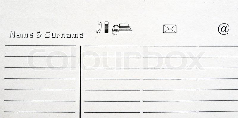 Stock image of 'Personal telephone directory'
