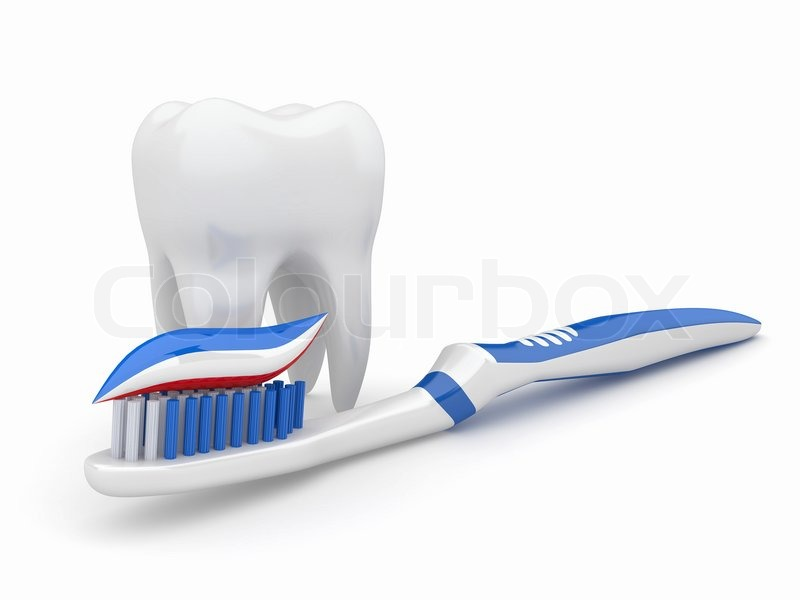 Stock image of 'Tooth and toothbrush 3d'