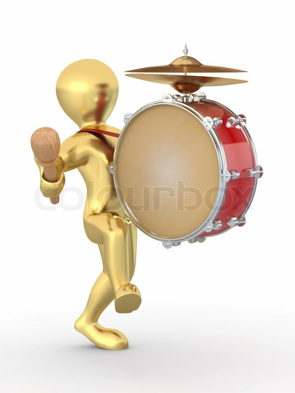 Stock image of 'Man with drum and drumstick 3d'