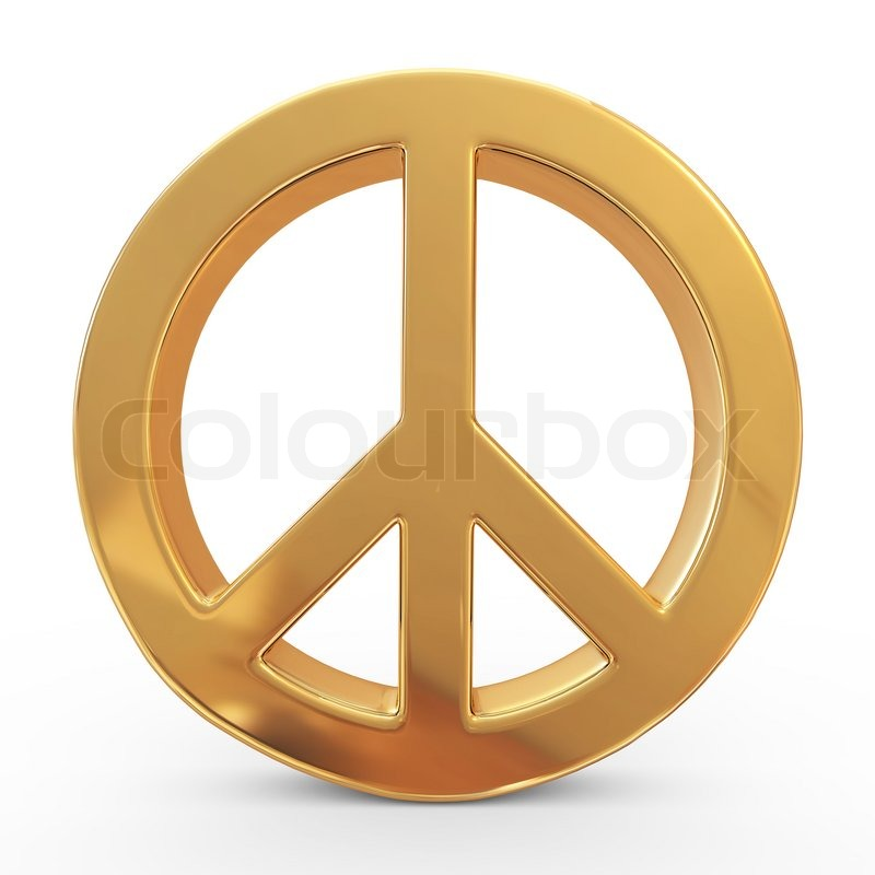 Stock image of 'Peace sign on white isolated background. 3d'