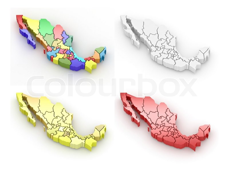 Stock image of 'Three-dimensional map of Mexico'