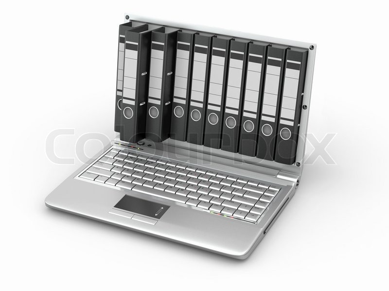 Stock image of 'Archive Laptop with folders instead of the screen'