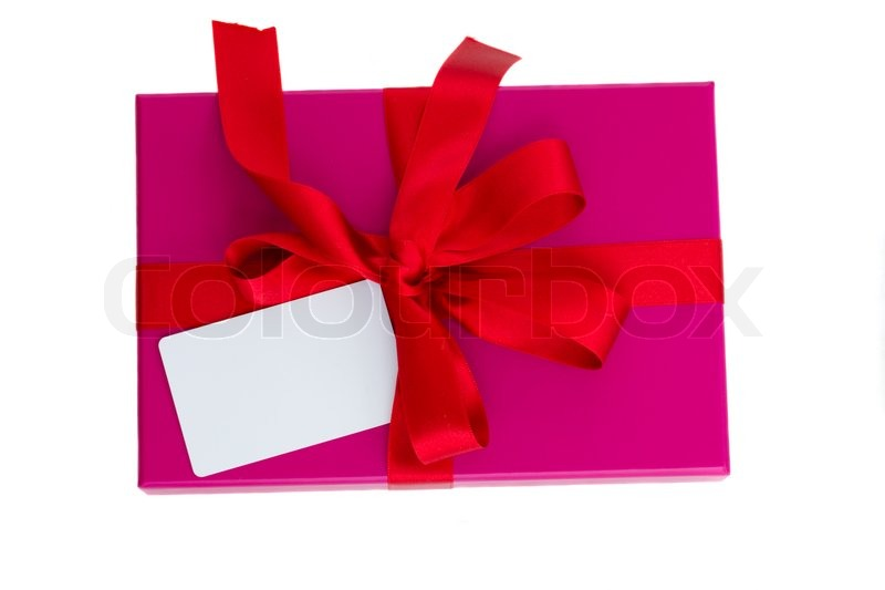 Stock image of 'Pink gift box with blank card'