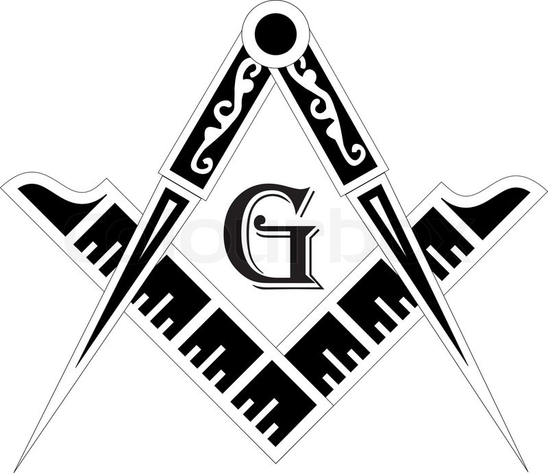 Freemasonry Emblem The Masonic Square And Compass Symbol Vector