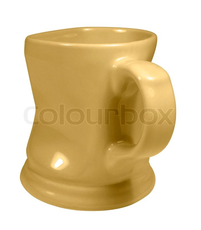 Stock image of 'Dented yellow cup'