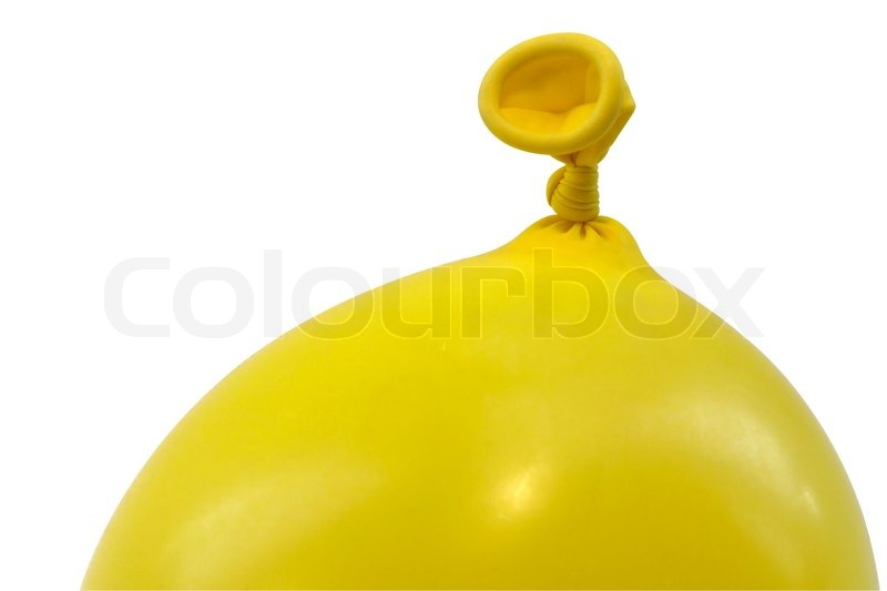 Stock image of 'studio photography of a air filled yellow balloon isolated on white with clipping path'