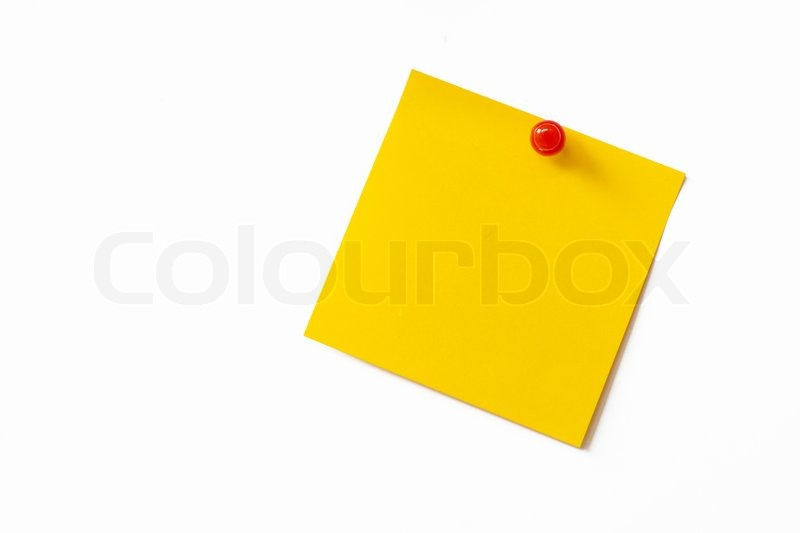 Stock image of 'Yellow sticky note on white background'