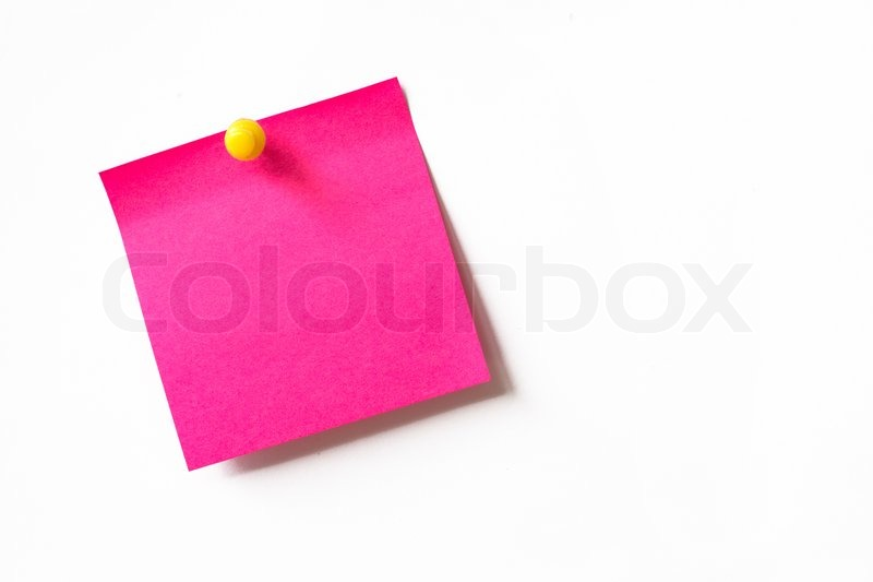 Stock image of 'Pink sticky note on white background'