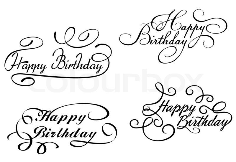 Happy Birthday Schriftart ~ Herzlichen gl�ckwunsch zum geburtstag kalligraphischen verzierungen stockfoto colourbox
