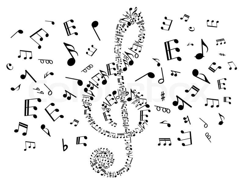 musical notenschlüssel mit notizen  stock bild  colourbox