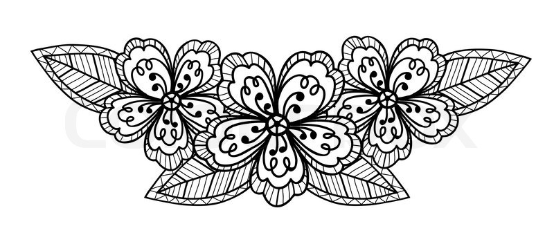 Black And White Line Drawing Flowers : Flot sort hvid blomst hånd tegning vektor colourbox