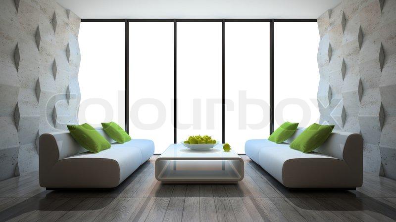 Beton In Interieur : Modernes interieur mit zwei sofas und beton wandpaneele
