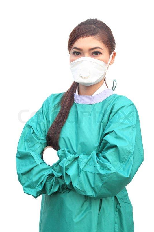 Female Doctor Wearing A Green Scrubs Stock Photo Colourbox