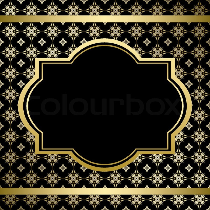 black vintage card with gold ornament vector stock