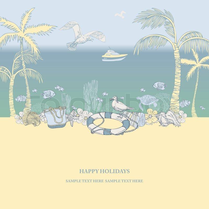 Beach Theme Card Stock: Beach Abstract Background, Travel Theme Beautiful Card