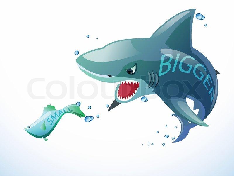 Hai fressen kleine fische vektorgrafik colourbox for Fressen kois kleine fische