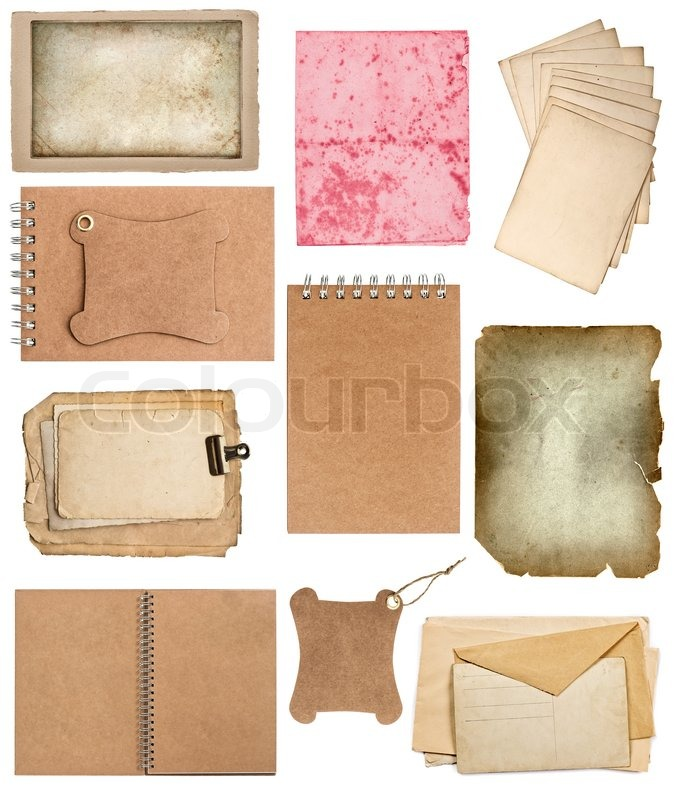 Set of various old paper sheets and ring books