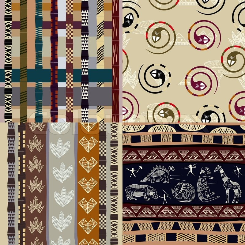 Set Of African Tribal Patterns Stock Vector Colourbox Amazing African Tribal Patterns
