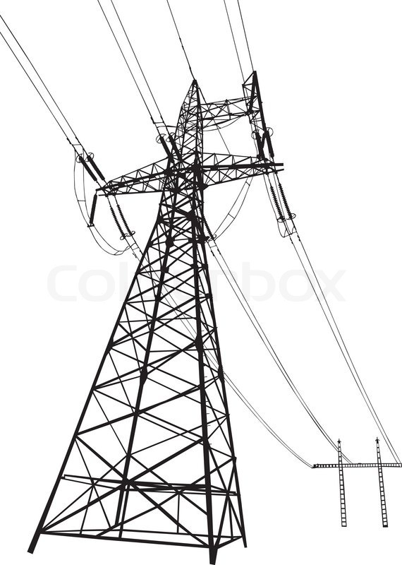 Vector Drawing Lines Html : Power lines and electric pylons stock vector colourbox