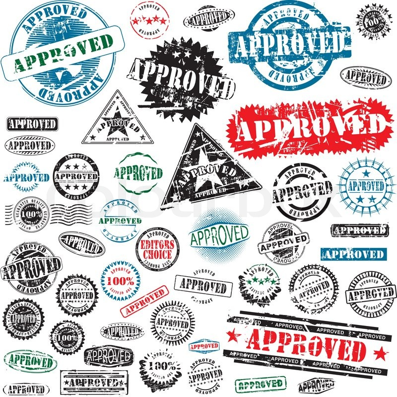 Approved Rubber Stamps Collection Vector