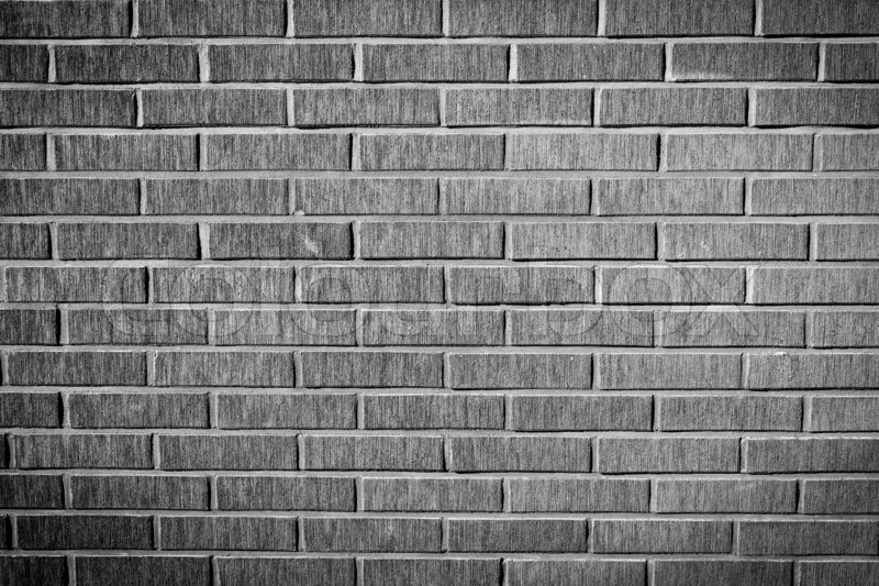 Grunge brick facade wall texture, black and white version ...