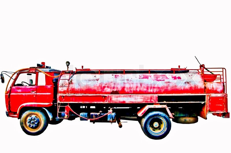 The Vintage fire truck isolated on white background, stock photo