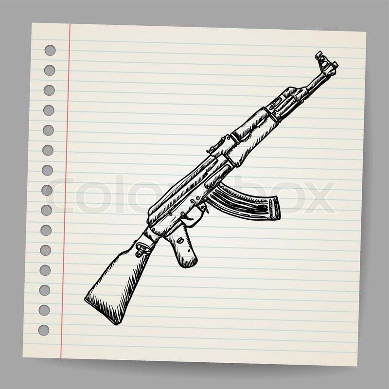sturmgewehr ak47 doodle stil vektorgrafik colourbox. Black Bedroom Furniture Sets. Home Design Ideas