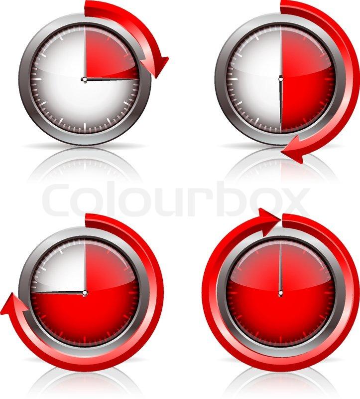 set of timer clocks 15 30 45 60 minutes vector illustration stock vector colourbox. Black Bedroom Furniture Sets. Home Design Ideas