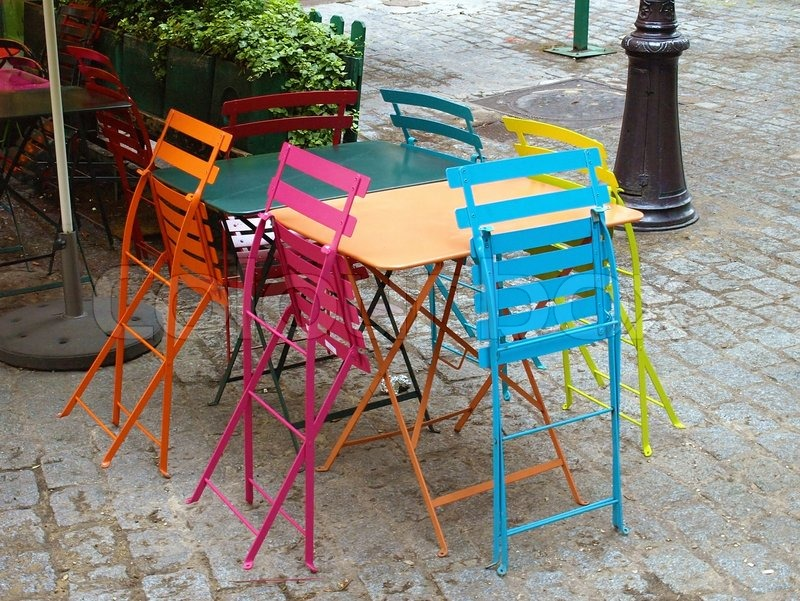 Typical Parisian Outdoor Cafe In Montmartre Stock Photo Colourbox - Paris cafe table