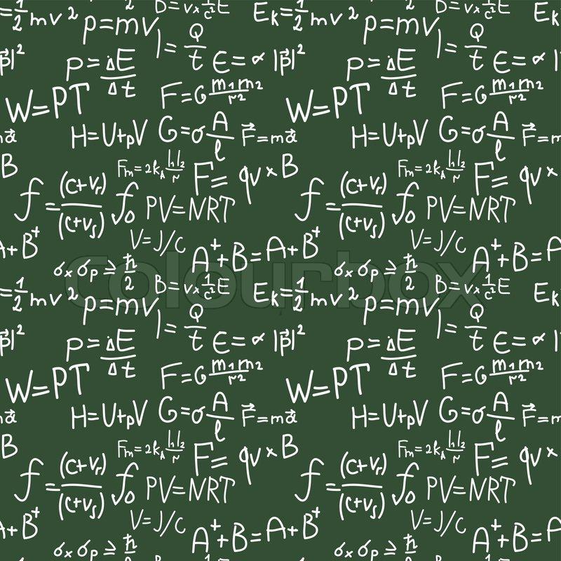 Physics formulas hand writing pattern stock vector