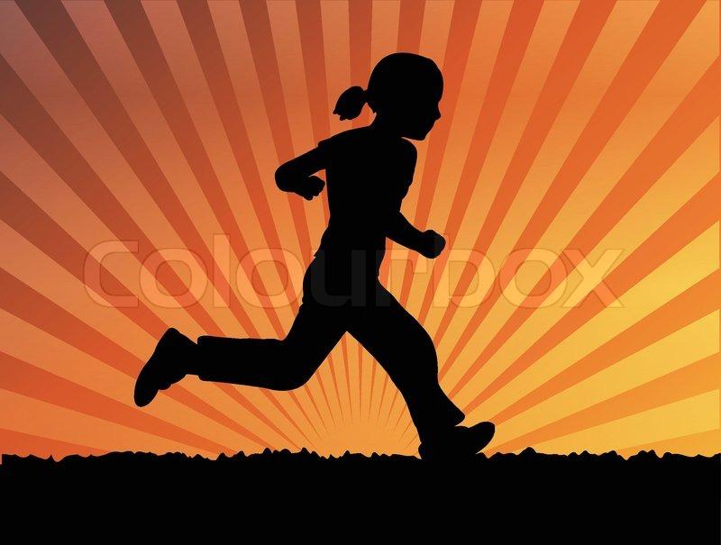 Silhouette of little girl running | Stock Vector | Colourbox