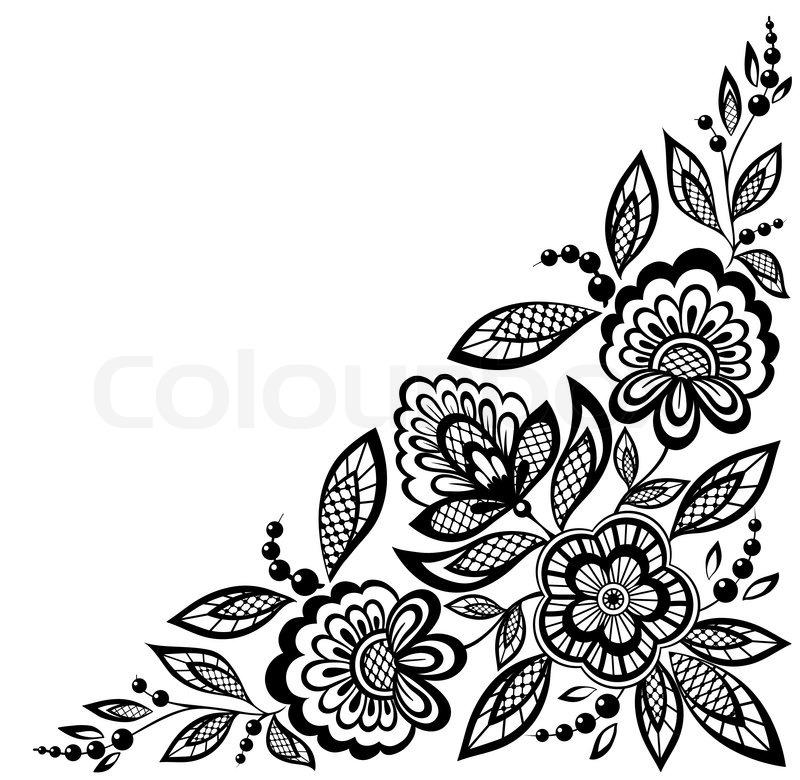 Black Flower Rose From Lace On White Background: Hjørne Ornamental Blonder Blomster Er ...