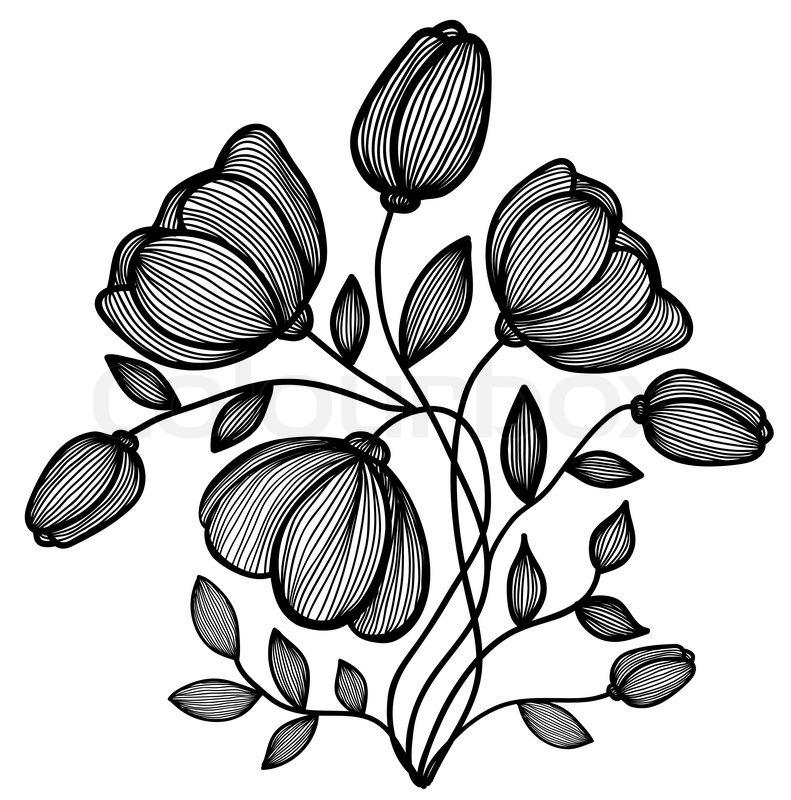 Abstract Line Drawing Flowers : Smukke abstrakt sort hvid blomst af linierne enkelt