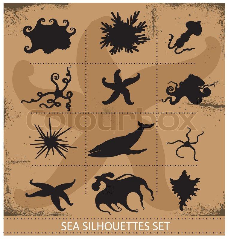 Sea animals silhouettes underwater symbols set isolated, vector