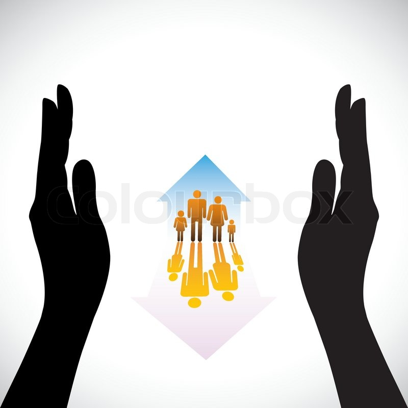 Graphic Of Secure Family People Icons Amp Hand Silhouette