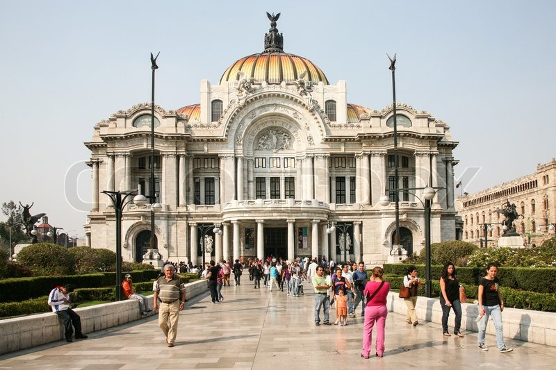 MEXICO CITY, Mexico, -MARCH, 3, 2012: Mexican people passing by the Palacio de Bellas Artes on march 3, 2012 in historical center of Mexico City, Mexico , stock photo