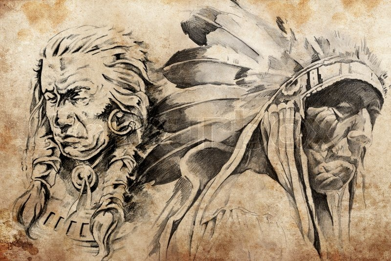 tattoo sketch of american indian warriors stock photo