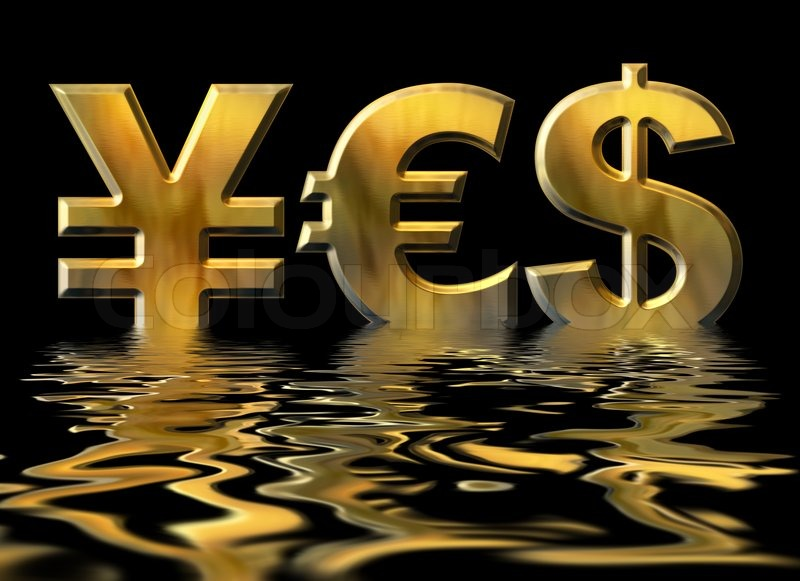 Word Yes Written By Gold Symbols Of Yen Dollar And Euro Stock