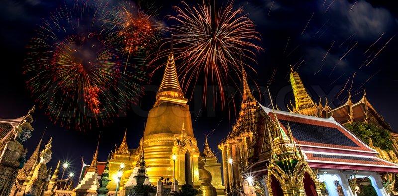 Firework on Wat Phra Kaeo Thai royal palace between King birthday celebration, stock photo