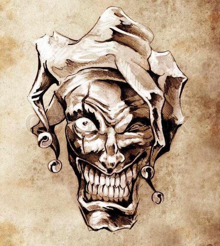 fantasy clown joker skizze tattoo kunst ber schmutzigen. Black Bedroom Furniture Sets. Home Design Ideas
