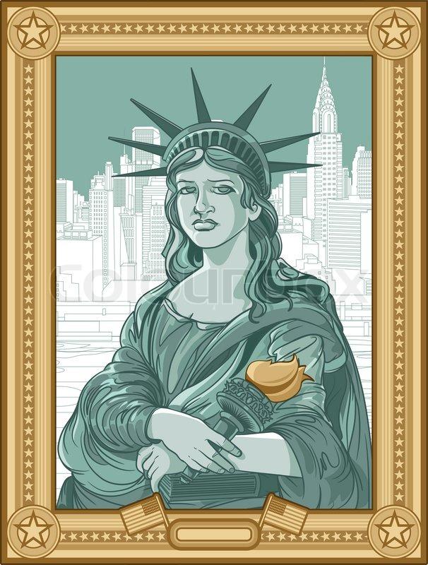 Mona Lisa Statue Of Liberty Stock Vector Colourbox
