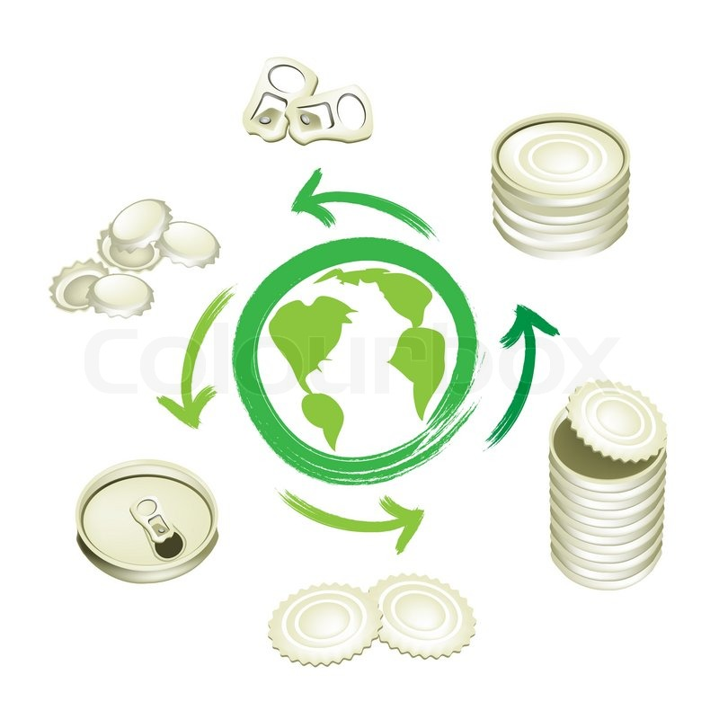 Aluminum Can Recycling Symbol For Save The World Stock Photo