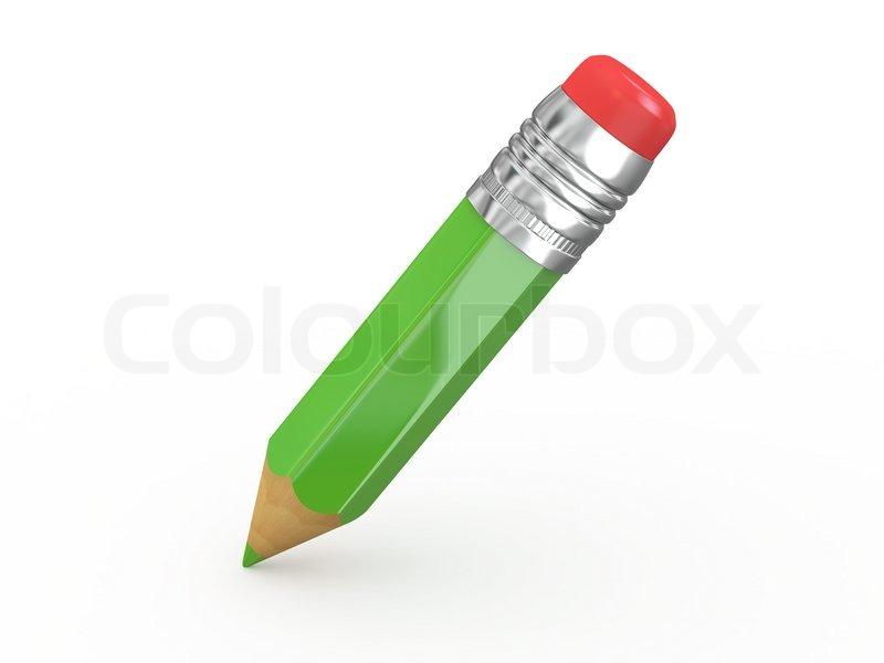 Pencil with eraser 3d Stock Photo Colourbox