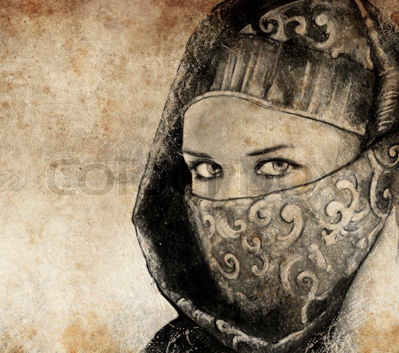 Tattoo Fuß Frau Arabische: Sketch Mit Digitalen Tablette Arabische Frau , Wüste