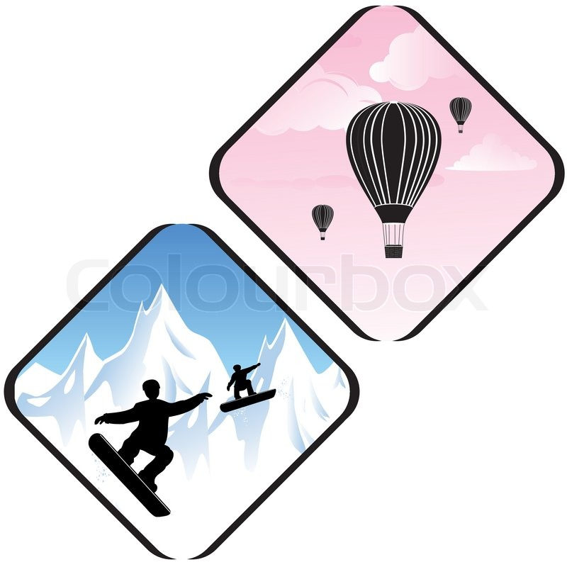 Snowboard jumping in high mountains and air relax icons. People silhouettes in sport.Vector concept background. Training Icon Symbol Sign Pictogram, vector