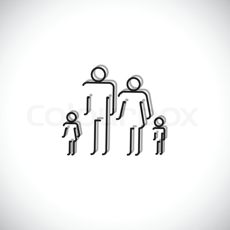 Family Of Four People Abstract Icons Using Line Drawing The Symbols