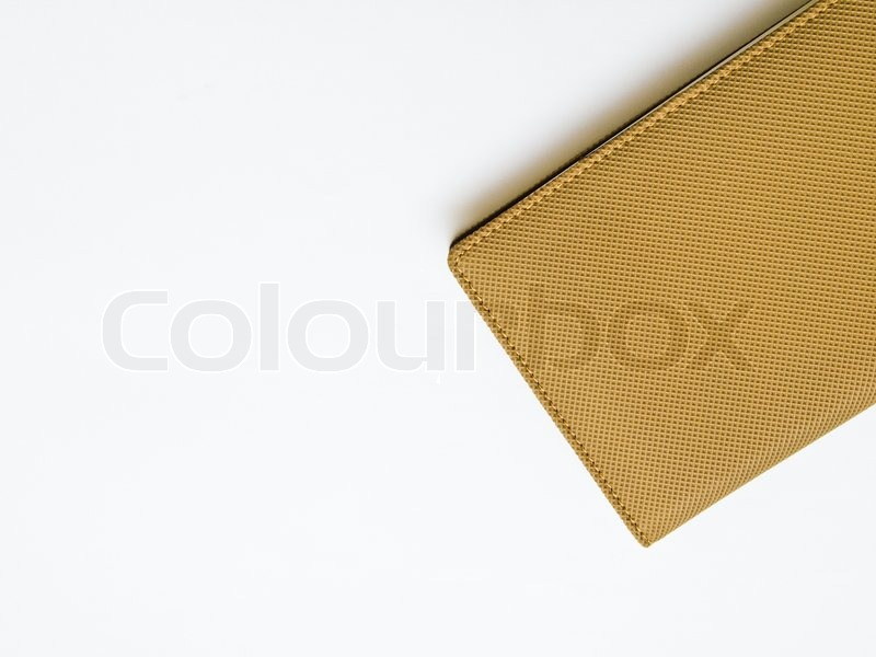 Notebook Cover Background : Light brown notebook cover isolated on white background
