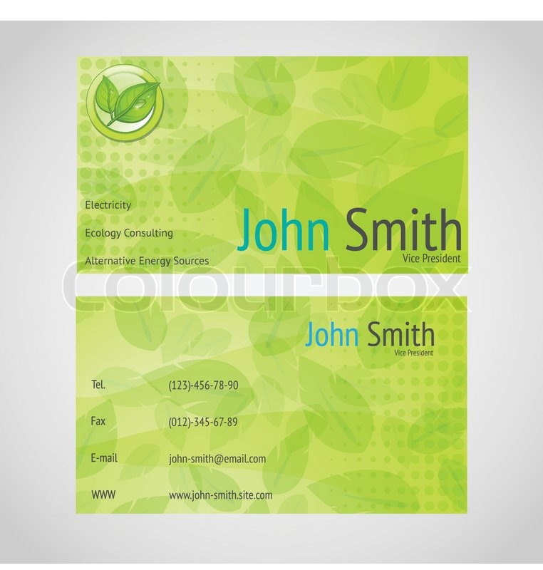 Stylish green vector business card with standart 90 x 50 mm with stylish green vector business card with standart 90 x 50 mm with leafs stock vector colourbox reheart Images
